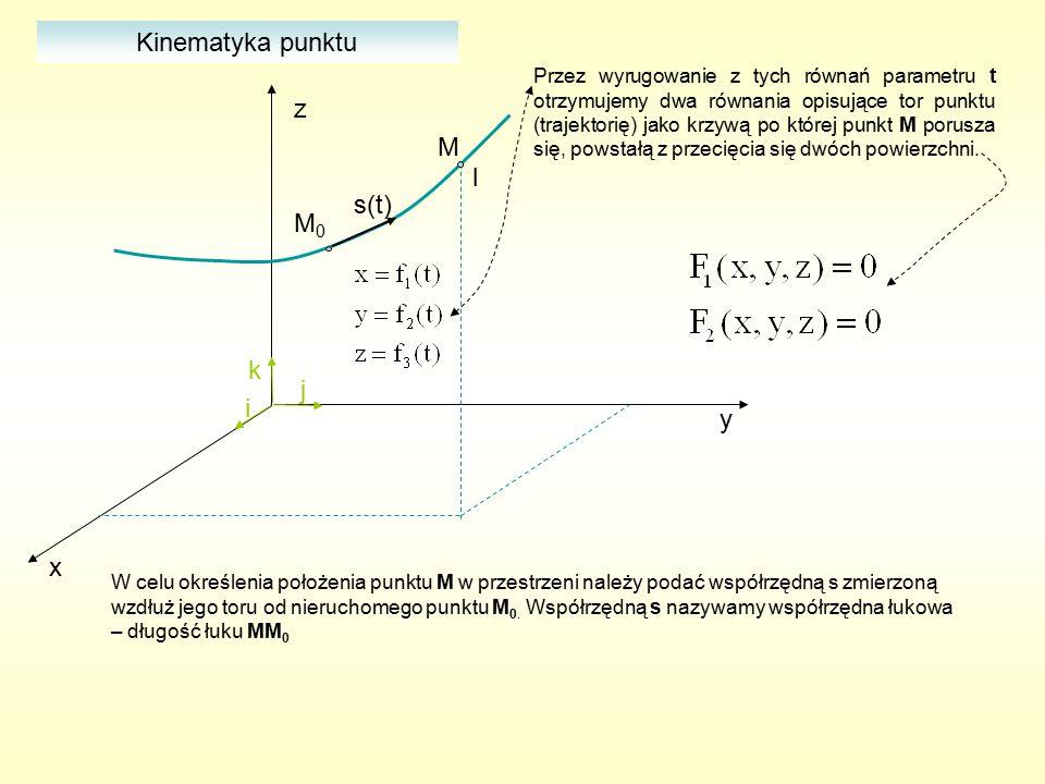 Kinematyka punktu x y z i j k M l s(t) M0M0 Równanie ruchu punktu po torze Droga przebyta przez punkt w przedziale czasu (0,t) Opis położenia punktu w przestrzeni za pomocą współrzędnej łukowej: