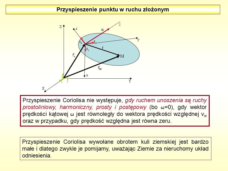 Przyspieszenie punktu w ruchu złożonym i j k Przyspieszenie Coriolisa nie występuje, gdy ruchem unoszenia są ruchy prostoliniowy, harmoniczny, prosty
