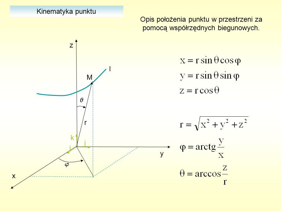 x y z i j k M l   Kinematyka punktu Opis położenia punktu w przestrzeni za pomocą współrzędnych walcowych.