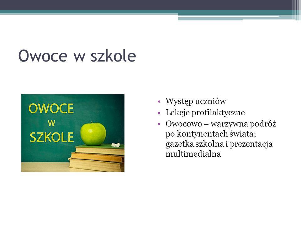 Owoce w szkole Występ uczniów Lekcje profilaktyczne Owocowo – warzywna podróż po kontynentach świata; gazetka szkolna i prezentacja multimedialna
