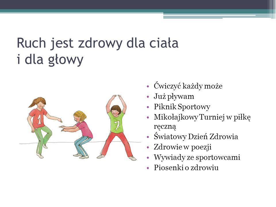 Ruch jest zdrowy dla ciała i dla głowy Ćwiczyć każdy może Już pływam Piknik Sportowy Mikołajkowy Turniej w piłkę ręczną Światowy Dzień Zdrowia Zdrowie