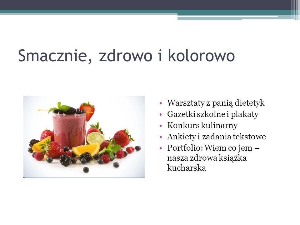 Smacznie, zdrowo i kolorowo Warsztaty z panią dietetyk Gazetki szkolne i plakaty Konkurs kulinarny Ankiety i zadania tekstowe Portfolio: Wiem co jem –