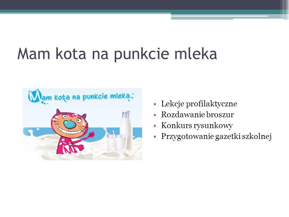 Mam kota na punkcie mleka Lekcje profilaktyczne Rozdawanie broszur Konkurs rysunkowy Przygotowanie gazetki szkolnej