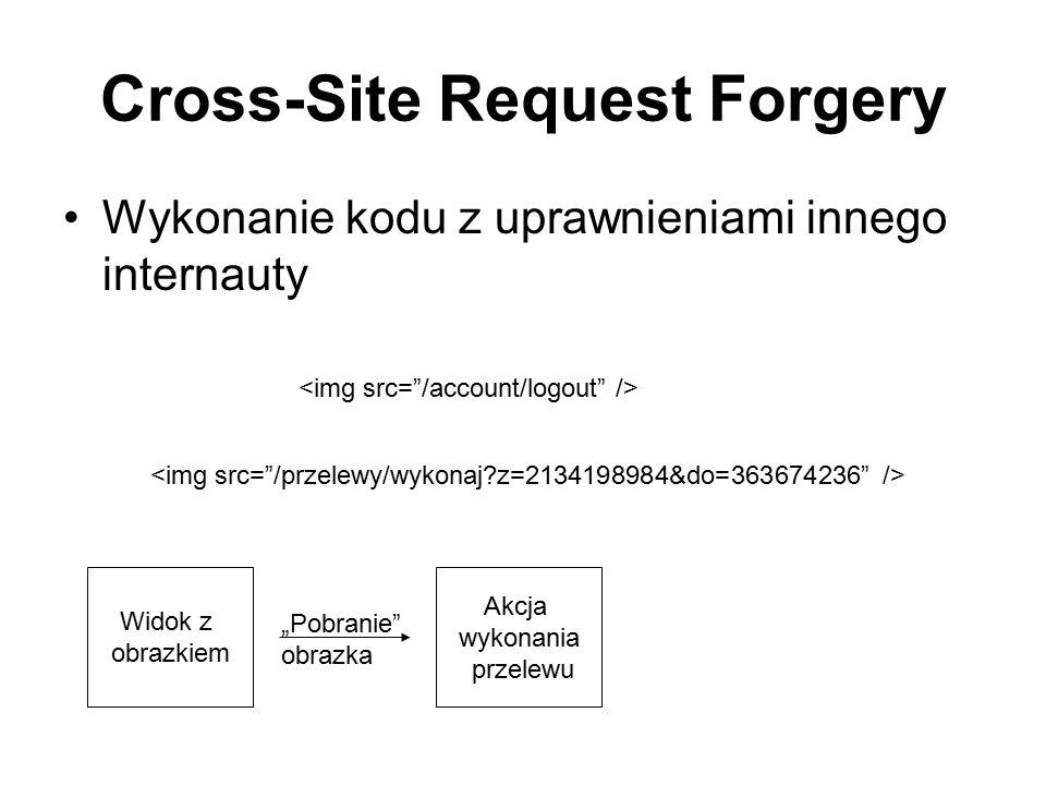 """Cross-Site Request Forgery Wykonanie kodu z uprawnieniami innego internauty Widok z obrazkiem Akcja wykonania przelewu """"Pobranie"""" obrazka"""