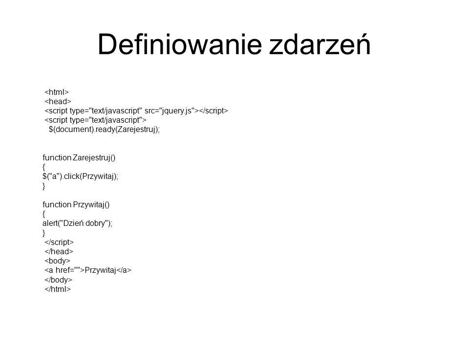 Definiowanie zdarzeń $(document).ready(Zarejestruj); function Zarejestruj() { $(