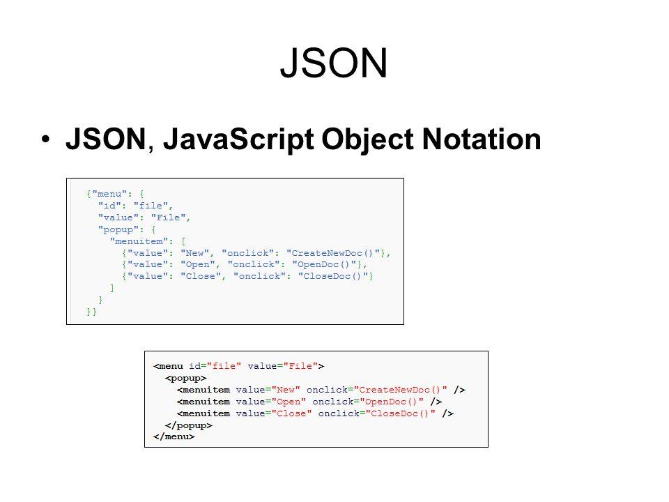JSON JSON, JavaScript Object Notation