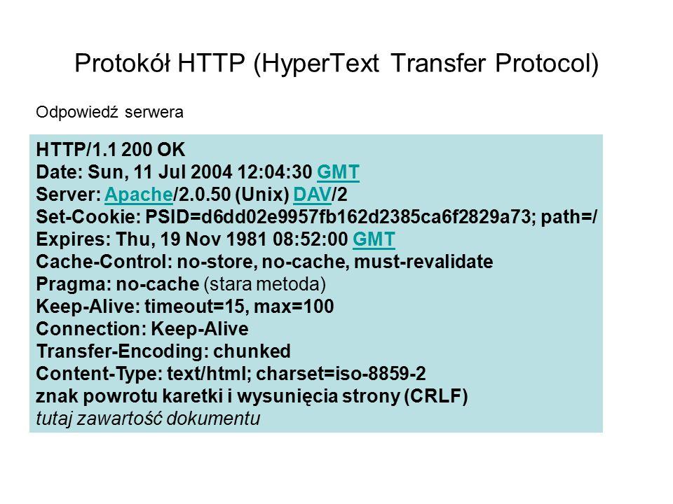Metody HTTP GET – pobranie zasobu HEAD – pobranie informacji o zasobie POST – przesłanie danych na serwer PUT – umieszczenie zasobu na serwerze DELETE – usunięcie zasobu z serwera TRACE, CONNECT, OPTIONS