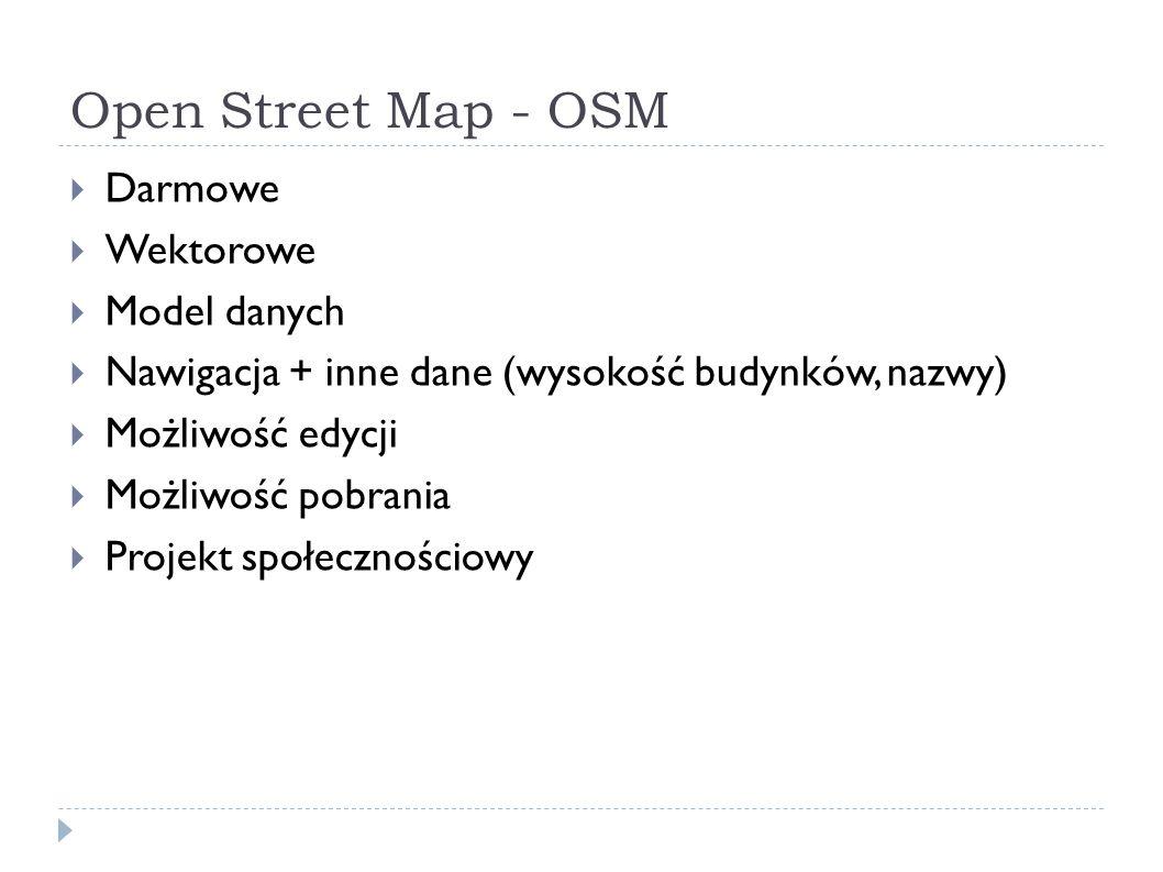 Open Street Map - OSM  Darmowe  Wektorowe  Model danych  Nawigacja + inne dane (wysokość budynków, nazwy)  Możliwość edycji  Możliwość pobrania  Projekt społecznościowy
