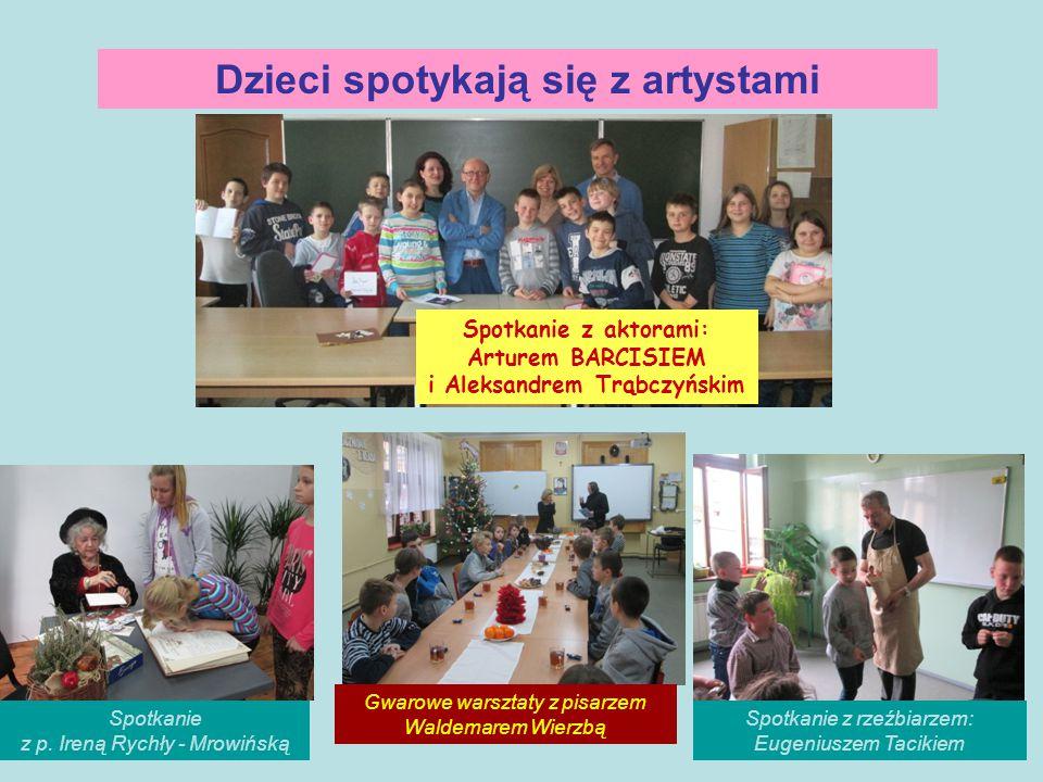 Dzieci spotykają się z artystami Spotkanie z p. Ireną Rychły - Mrowińską Spotkanie z aktorami: Arturem BARCISIEM i Aleksandrem Trąbczyńskim Gwarowe wa