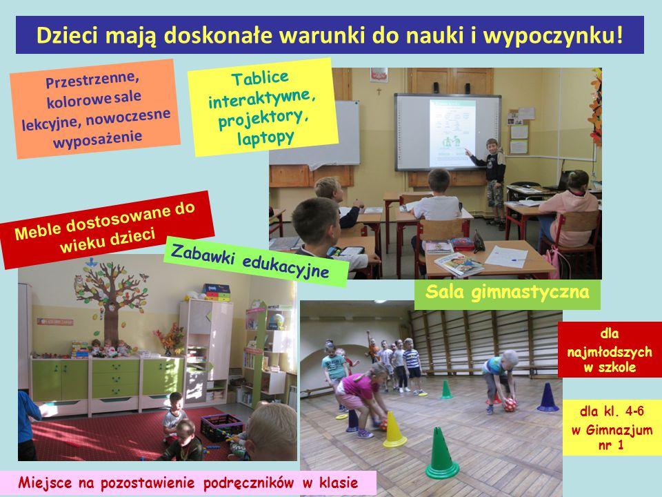 Sala gimnastyczna Dzieci mają doskonałe warunki do nauki i wypoczynku! Przestrzenne, kolorowe sale lekcyjne, nowoczesne wyposażenie Tablice interaktyw