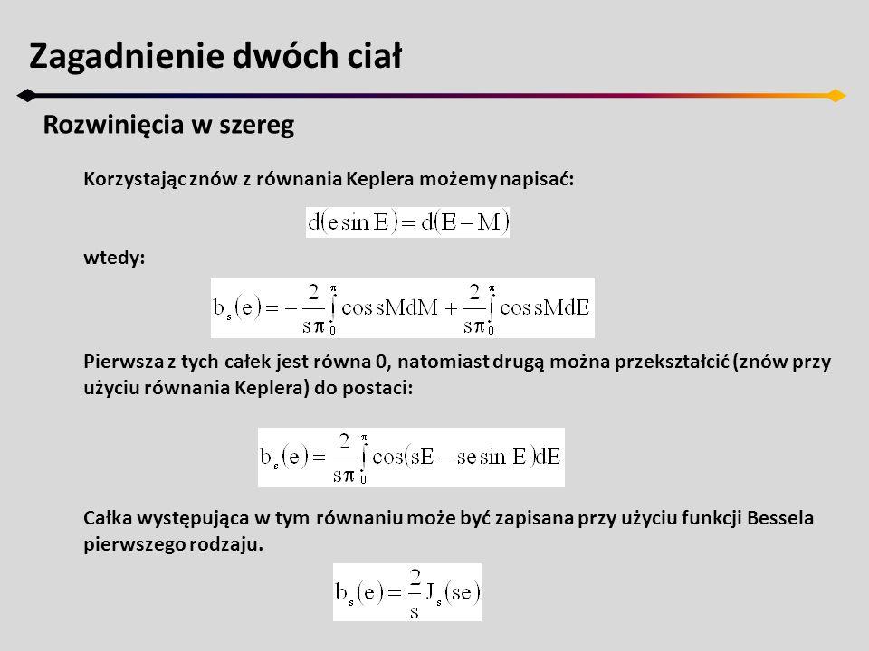Korzystając znów z równania Keplera możemy napisać: wtedy: Pierwsza z tych całek jest równa 0, natomiast drugą można przekształcić (znów przy użyciu r