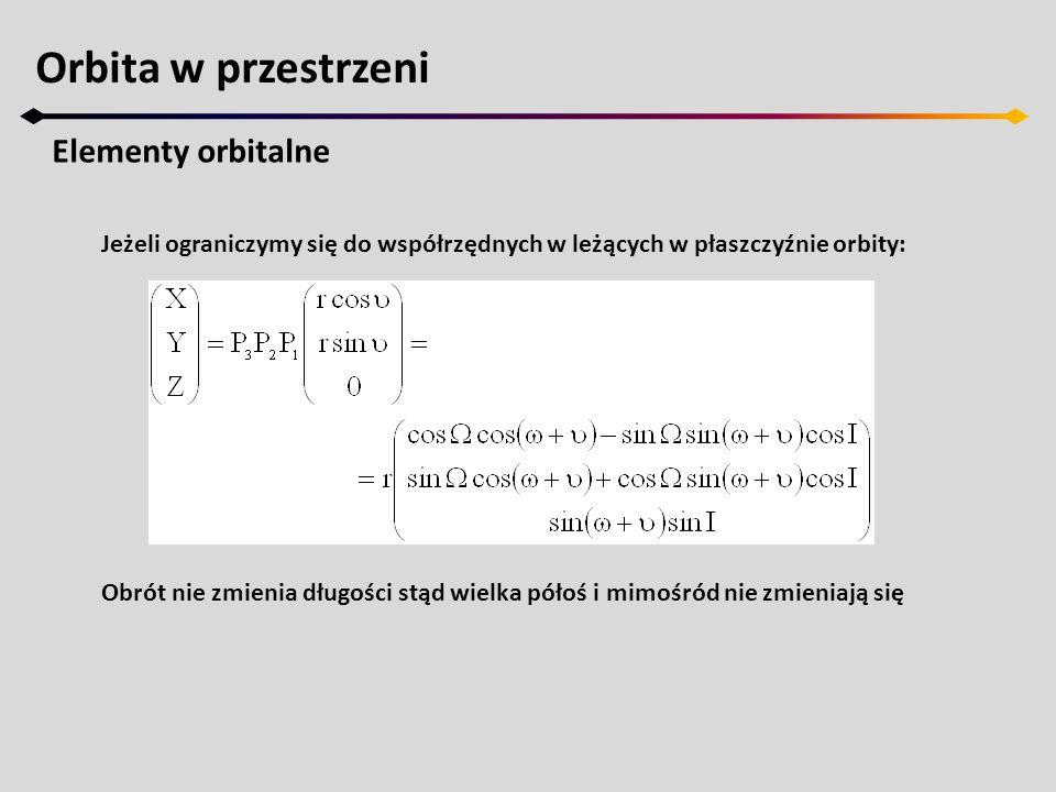 Orbita w przestrzeni Elementy orbitalne Jeżeli ograniczymy się do współrzędnych w leżących w płaszczyźnie orbity: Obrót nie zmienia długości stąd wiel