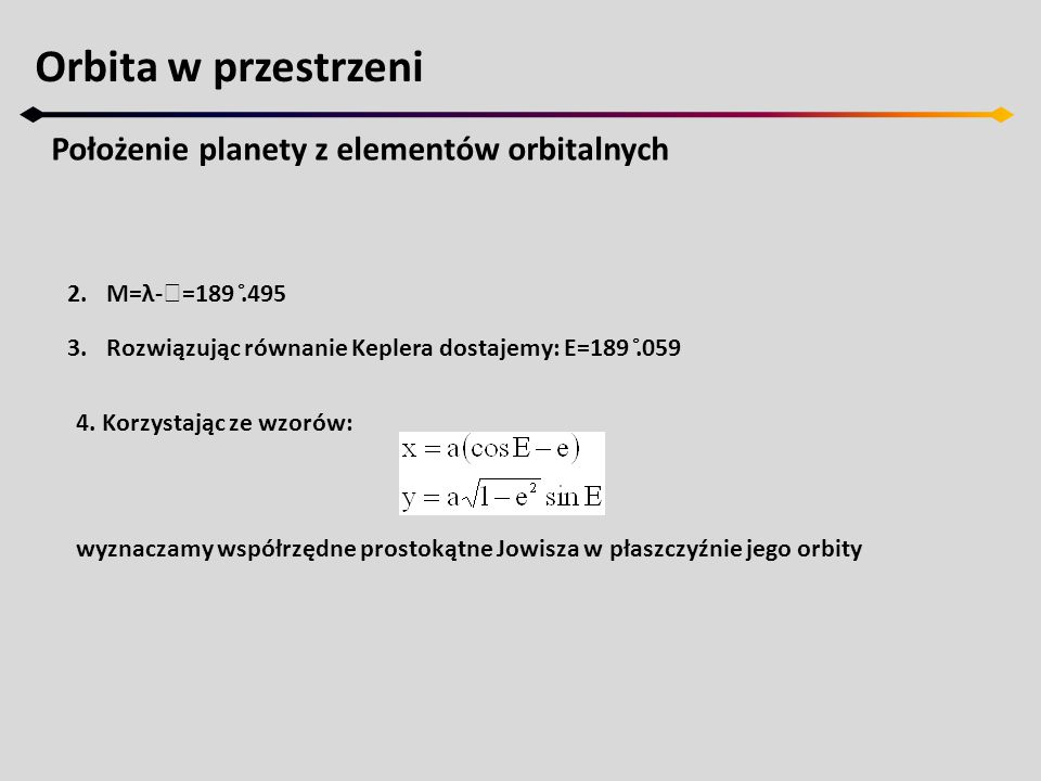 Orbita w przestrzeni Położenie planety z elementów orbitalnych 5.