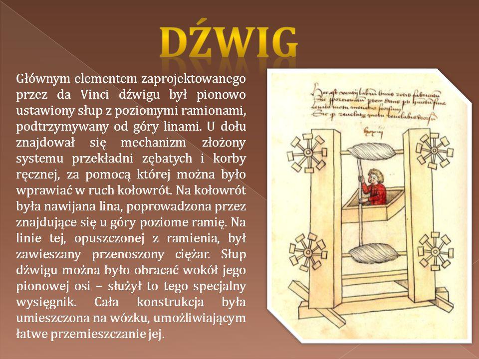 Głównym elementem zaprojektowanego przez da Vinci dźwigu był pionowo ustawiony słup z poziomymi ramionami, podtrzymywany od góry linami. U dołu znajdo