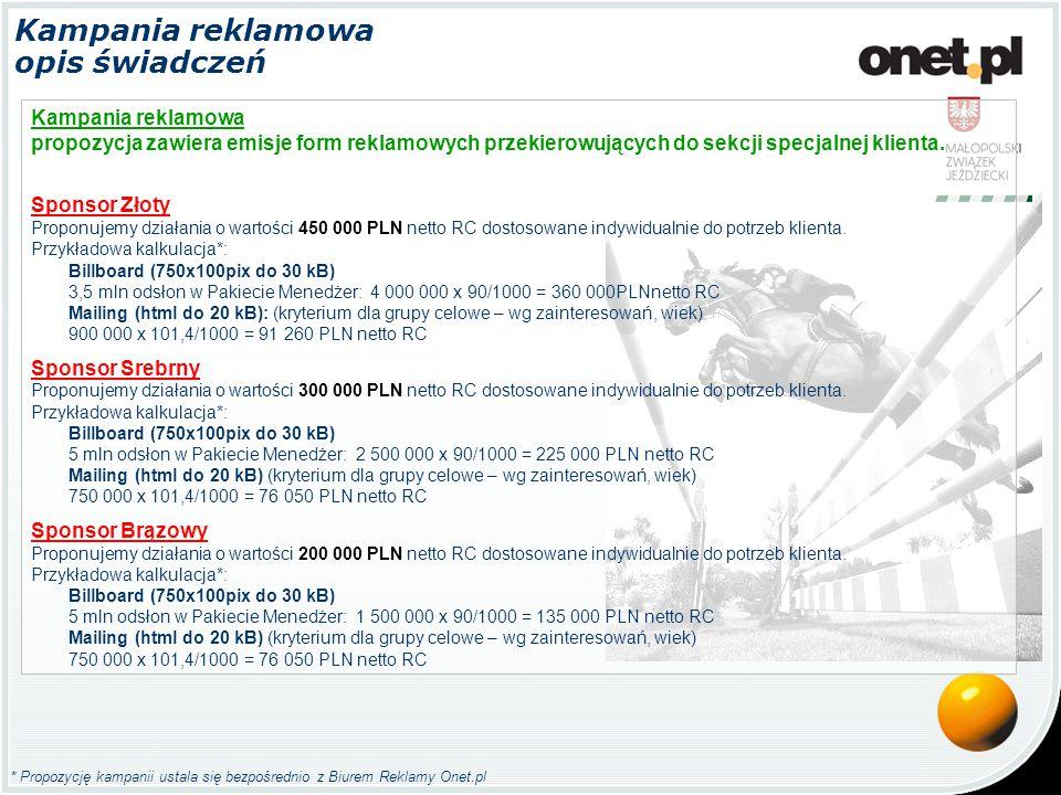* Propozycję kampanii ustala się bezpośrednio z Biurem Reklamy Onet.pl Kampania reklamowa opis świadczeń Kampania reklamowa propozycja zawiera emisje