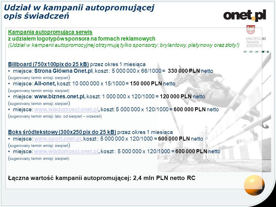 Udział w kampanii autopromującej opis świadczeń Kampania autopromująca serwis z udziałem logotypów sponsora na formach reklamowych (Udział w kampanii autopromocyjnej otrzymują tylko sponsorzy: brylantowy, platynowy oraz złoty!) Billboard (750x100pix do 25 kB) przez okres 1 miesiąca miejsce: Strona Główna Onet.pl, koszt : 5 000 000 x 66/1000 = 330 000 PLN netto ( sugerowany termin emisji: sierpień ) miejsce: All-onet, koszt: 10 000 000 x 15/1000 = 150 000 PLN netto ( sugerowany termin emisji: sierpień) miejsce: www.biznes.onet.pl, koszt: 1 000 000 x 120/1000 = 120 000 PLN netto ( sugerowany termin emisji: sierpień ) miejsce: www.wiadomosci.onet.pl, koszt: 5 000 000 x 120/1000 = 600 000 PLN netto ( sugerowany termin emisji: lato: od sierpień – wrzesień)www.wiadomosci.onet.pl Boks śródtekstowy (300x250 pix do 25 kB) przez okres 1 miesiąca miejsce: www.sport.onet.pl, koszt : 5 000 000 x 120/1000 = 600 000 PLN nettowww.sport.onet.pl ( sugerowany termin emisji: sierpień ) miejsce: www.wiadomosci.onet.pl, koszt : 5 000 000 x 120/1000 = 600 000 PLN netto ( sugerowany termin emisji: sierpień)www.wiadomosci.onet.pl Łączna wartość kampanii autopromującej: 2,4 mln PLN netto RC
