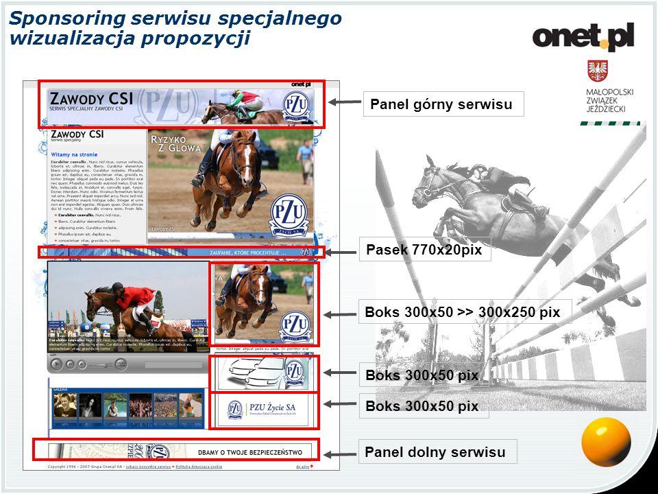 Panel górny serwisu Panel dolny serwisu Pasek 770x20pix Boks 300x50 pix Boks 300x50 >> 300x250 pix Sponsoring serwisu specjalnego wizualizacja propozycji