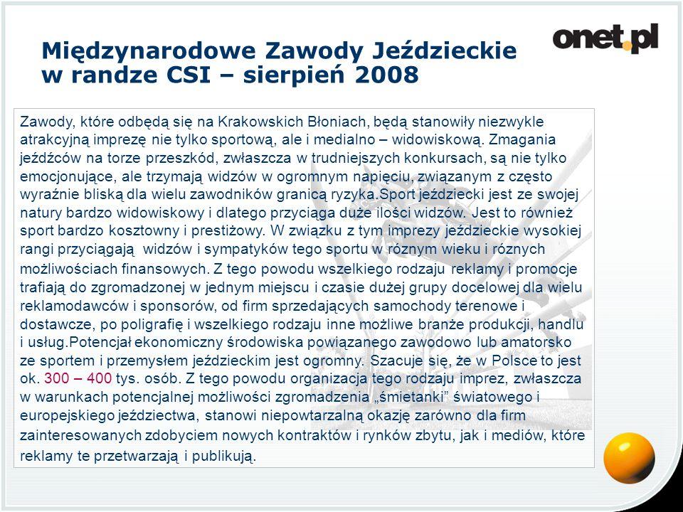 Międzynarodowe Zawody Jeździeckie w randze CSI – sierpień 2008 Zawody, które odbędą się na Krakowskich Błoniach, będą stanowiły niezwykle atrakcyjną imprezę nie tylko sportową, ale i medialno – widowiskową.