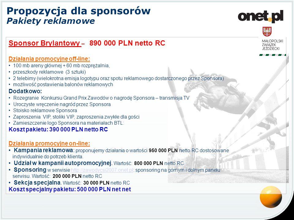 Propozycja dla sponsorów Pakiety reklamowe Sponsor Brylantowy – 890 000 PLN netto RC Działania promocyjne off-line: 100 mb areny głównej + 60 mb rozprężalnia, przeszkody reklamowe (3 sztuki) 2 telebimy (wielokrotna emisja logotypu oraz spotu reklamowego dostarczonego przez Sponsora) możliwość postawienia balonów reklamowych Dodatkowo: Rozegranie Konkursu Grand Prix Zawodów o nagrodę Sponsora – transmisja TV Uroczyste wręczenie nagród przez Sponsora Stoisko reklamowe Sponsora Zaproszenia VIP, stoliki VIP, zaproszenia zwykłe dla gości Zamieszczenie logo Sponsora na materiałach BTL: Koszt pakietu: 390 000 PLN netto RC Działania promocyjne on-line: Kampania reklamowa: proponujemy działania o wartości 950 000 PLN netto RC dostosowane indywidualnie do potrzeb klienta.