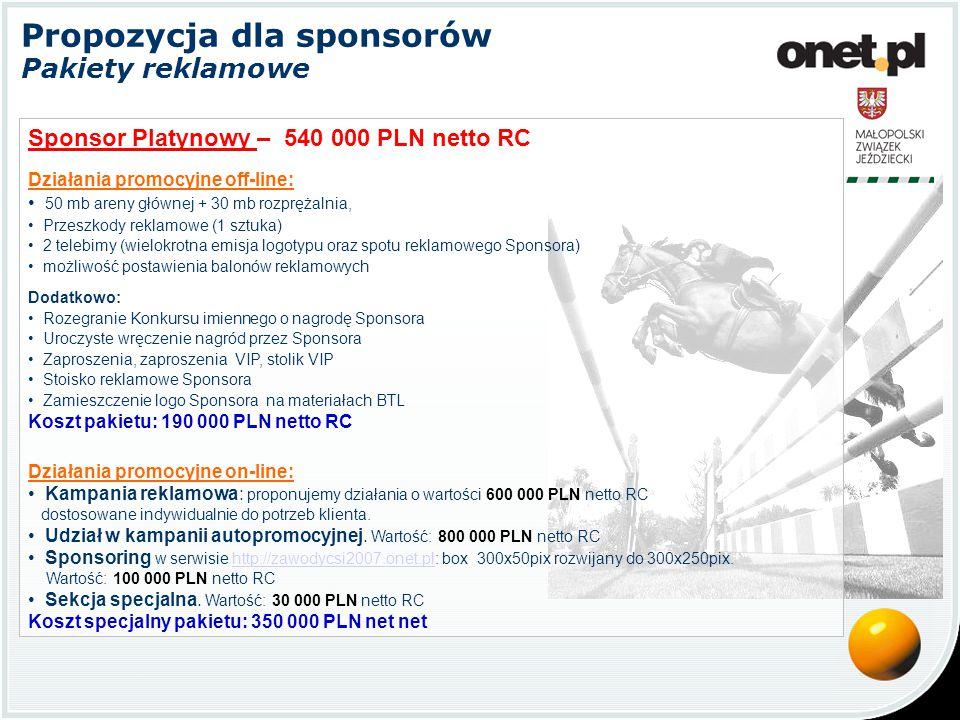 Propozycja dla sponsorów Pakiety reklamowe Sponsor Złoty – 440 000 PLN netto RC Działania promocyjne off-line: 50 mb areny głównej + 30 mb rozprężalnia, Przeszkody reklamowe (1 sztuka) 2 telebimy (wielokrotna emisja logotypu oraz spotu reklamowego Sponsora) możliwość postawienia balonów reklamowych Dodatkowo: Rozegranie Konkursu imiennego o nagrodę Sponsora Uroczyste wręczenie nagród przez Sponsora Zaproszenia, zaproszenia VIP, stolik VIP Stoisko reklamowe Sponsora Zamieszczenie logo Sponsora na materiałach BTL Koszt pakietu: 190 000 PLN netto RC Działania promocyjne on-line: Kampania reklamowa: proponujemy działania o wartości 450 000 PLN netto RC dostosowane indywidualnie do potrzeb klienta.