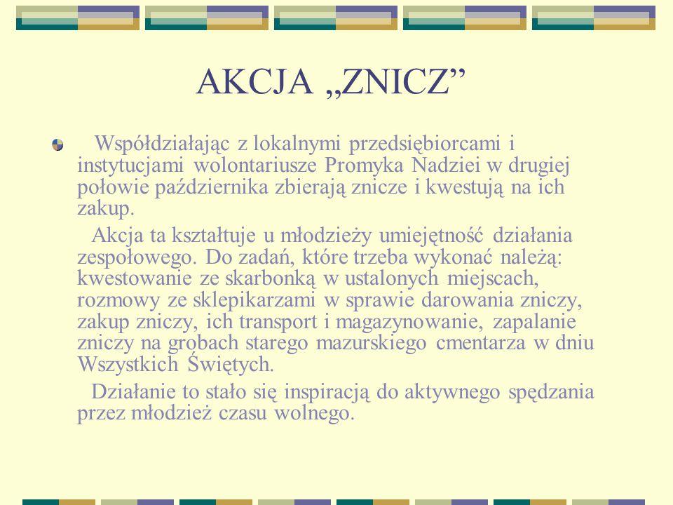 """AKCJA """"ZNICZ Współdziałając z lokalnymi przedsiębiorcami i instytucjami wolontariusze Promyka Nadziei w drugiej połowie października zbierają znicze i kwestują na ich zakup."""