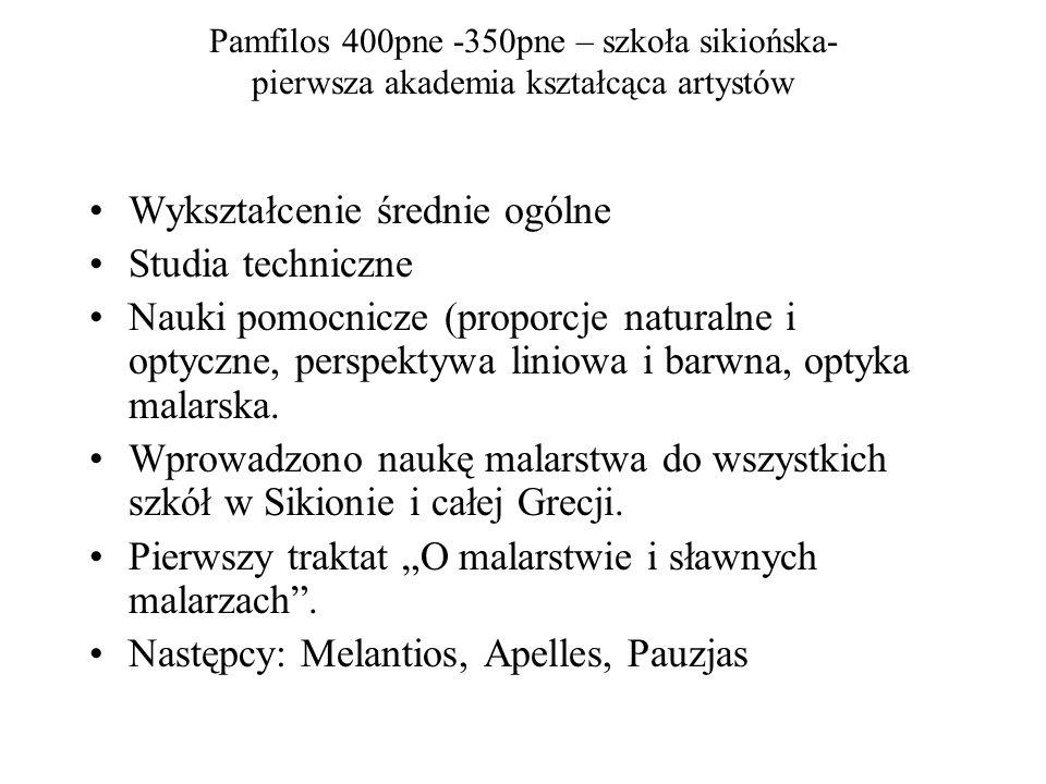 Pamfilos 400pne -350pne – szkoła sikiońska- pierwsza akademia kształcąca artystów Wykształcenie średnie ogólne Studia techniczne Nauki pomocnicze (proporcje naturalne i optyczne, perspektywa liniowa i barwna, optyka malarska.