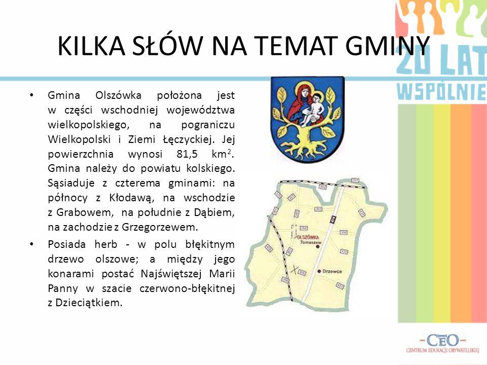 KILKA SŁÓW NA TEMAT GMINY Gmina Olszówka położona jest w części wschodniej województwa wielkopolskiego, na pograniczu Wielkopolski i Ziemi Łęczyckiej.