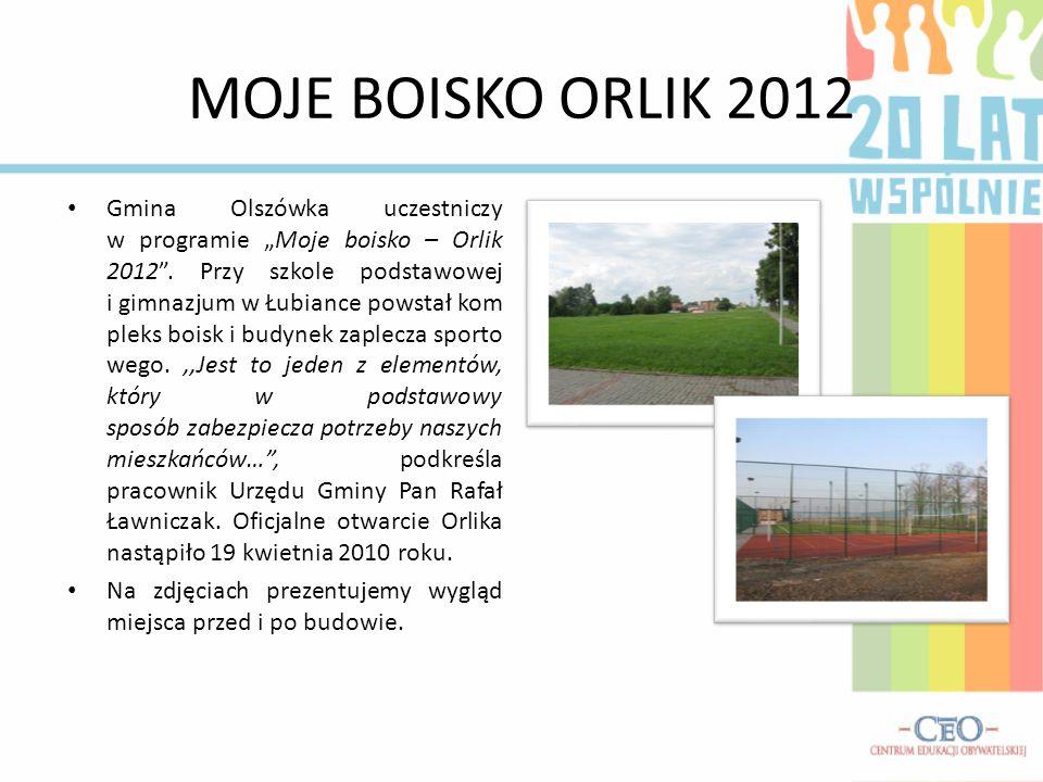"""MOJE BOISKO ORLIK 2012 Gmina Olszówka uczestniczy w programie """"Moje boisko – Orlik 2012 ."""