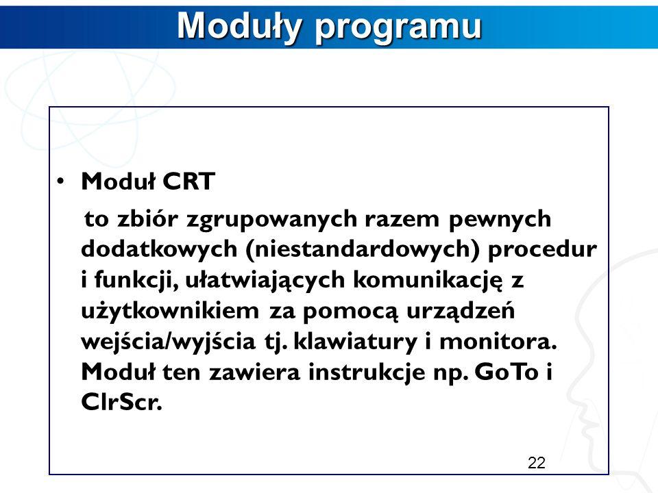 Uruchomienie programu Uruchomienie programu CTRL+F9- następuje kompilacja i konsolidacja programu oraz uruchomienie programu. ALT+F5- możliwość obejrz