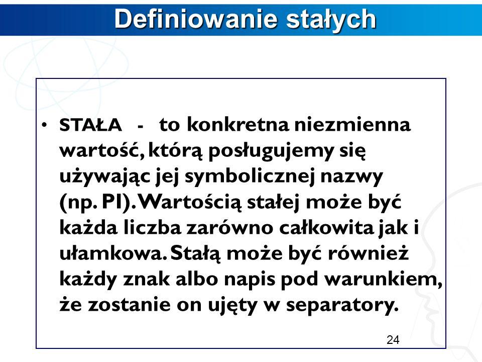Początki programowania Początki programowania Definiowanie stałych Deklarowanie zmiennych Rodzaje typów Wyrażenia 23 Zajęcia 2 Zajęcia 2