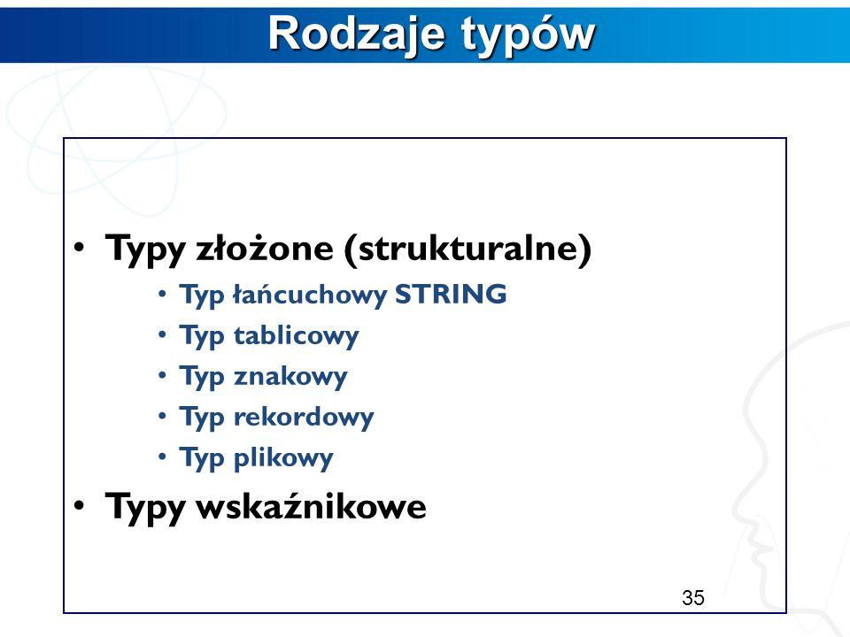 Podział typówprostych Podział typów prostych Typy porządkowe definiowane przez programistę – Wyliczeniowe – Okrojony 34
