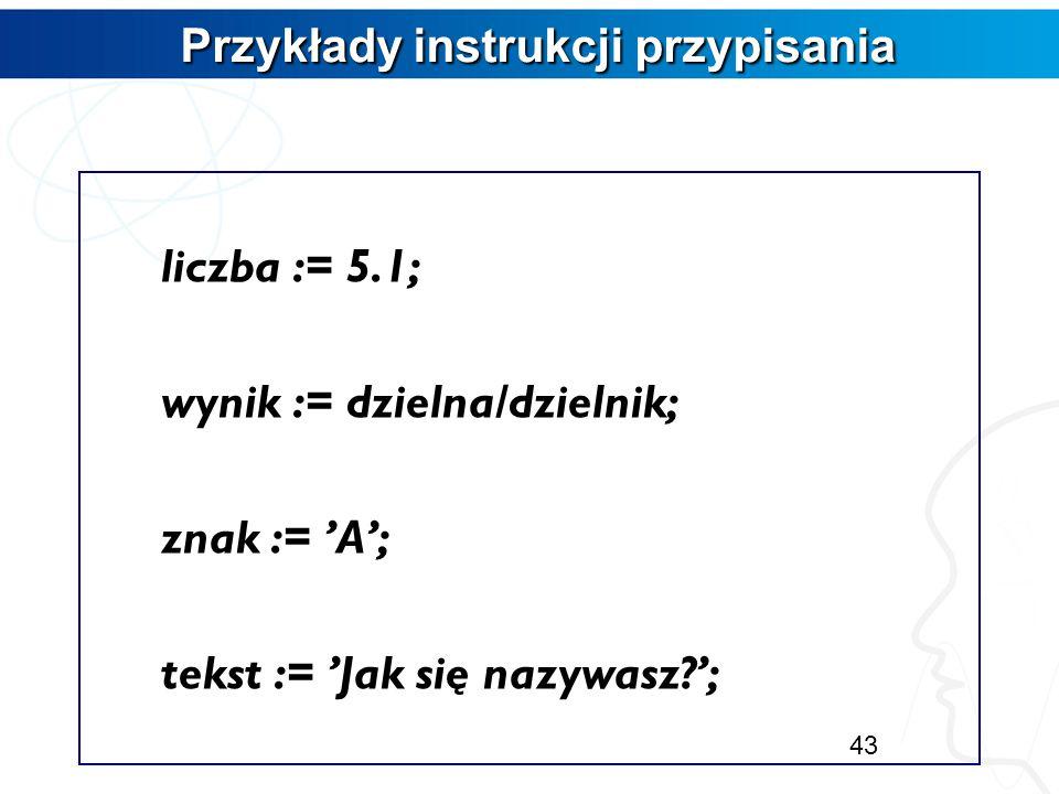 Instrukcja przypisania Instrukcja przypisania Służy do nadania wartości zmiennej. nazwa_zmiennej:=wyrażenie_albo_wartość – Od tego momentu operujemy n
