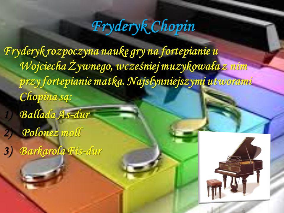 Fryderyk Chopin Fryderyk rozpoczyna naukę gry na fortepianie u Wojciecha Żywnego, wcześniej muzykowała z nim przy fortepianie matka. Najsłynniejszymi