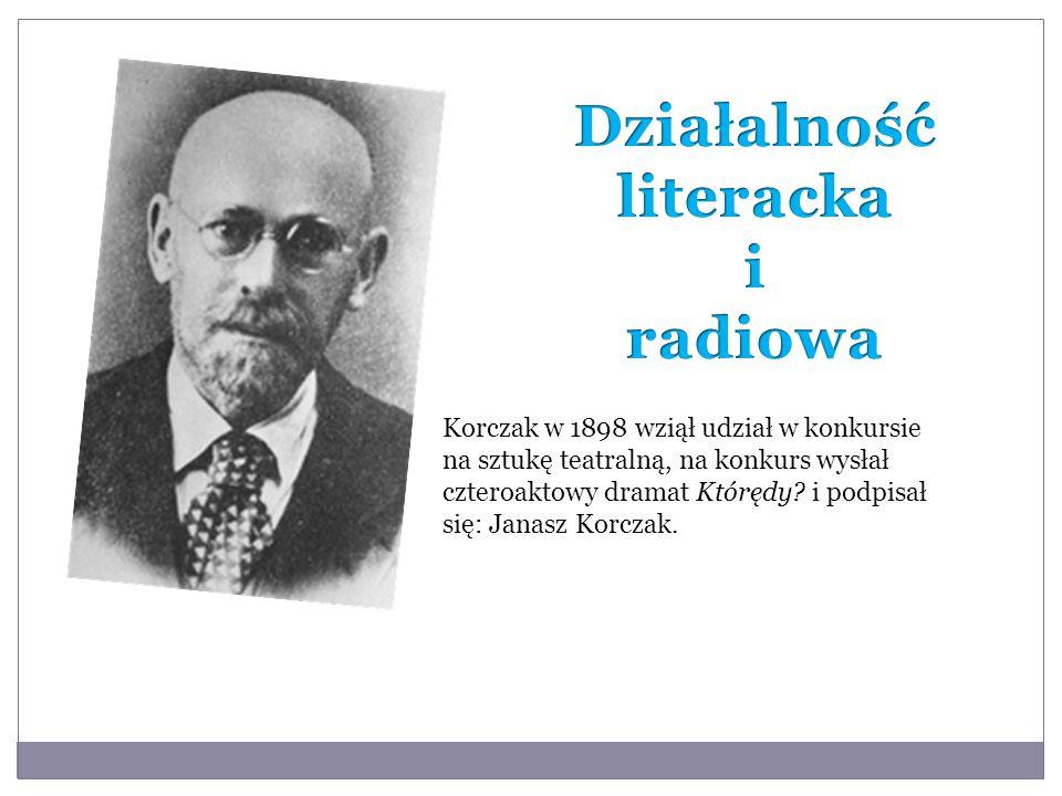 Korczak w 1898 wziął udział w konkursie na sztukę teatralną, na konkurs wysłał czteroaktowy dramat Którędy? i podpisał się: Janasz Korczak.
