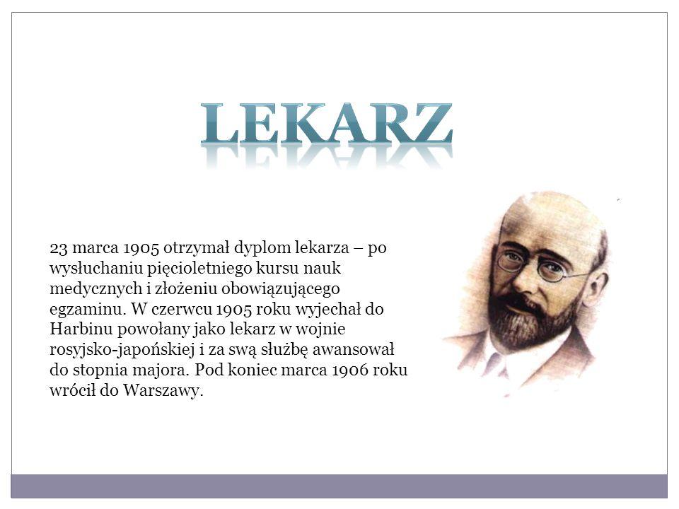 23 marca 1905 otrzymał dyplom lekarza – po wysłuchaniu pięcioletniego kursu nauk medycznych i złożeniu obowiązującego egzaminu. W czerwcu 1905 roku wy