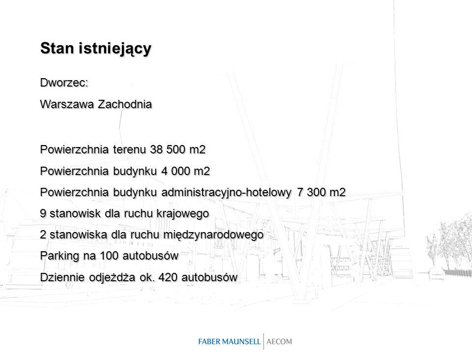 Powierzchnia terenu 38 500 m2 Powierzchnia budynku 4 000 m2 Powierzchnia budynku administracyjno-hotelowy 7 300 m2 9 stanowisk dla ruchu krajowego 2 stanowiska dla ruchu międzynarodowego Parking na 100 autobusów Dziennie odjeżdża ok.