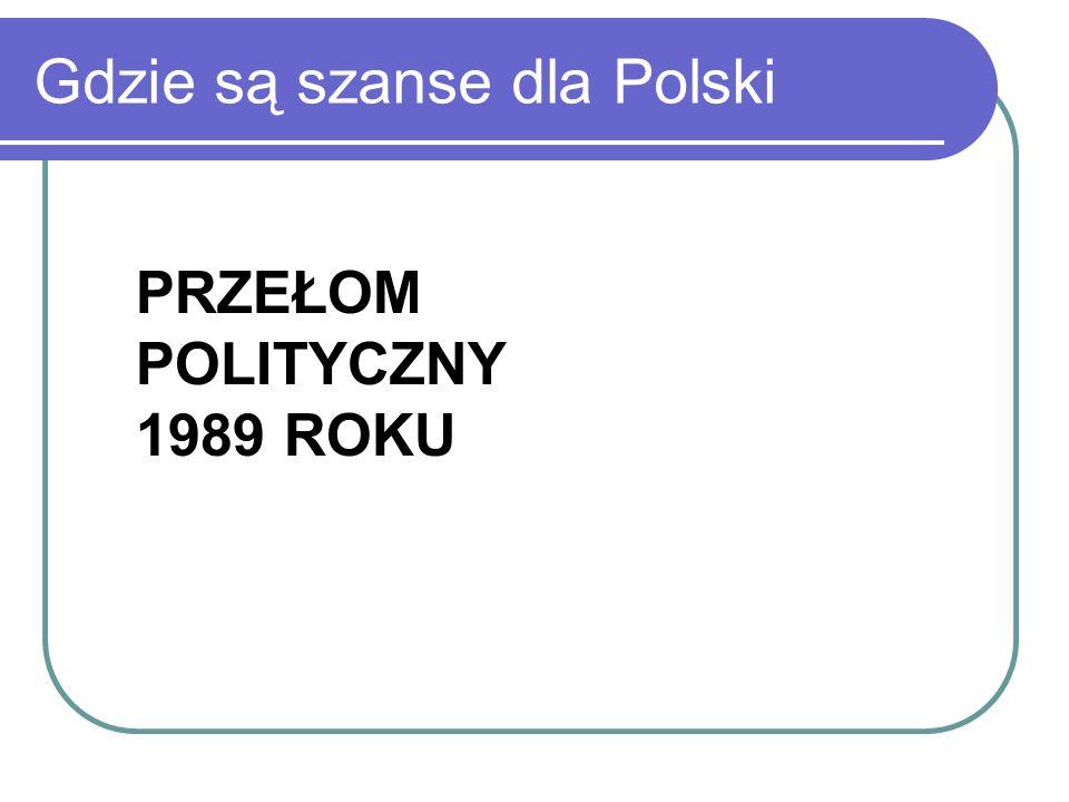 Gdzie są szanse dla Polski PRZEŁOM POLITYCZNY 1989 ROKU