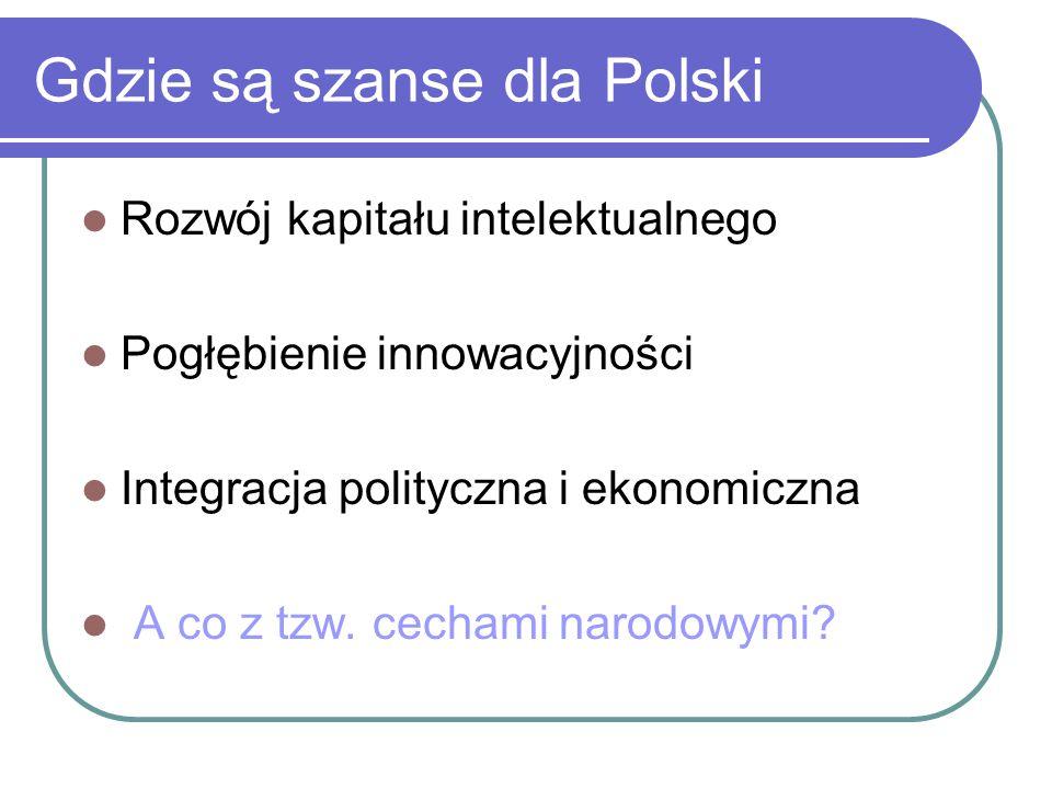 Gdzie są szanse dla Polski Rozwój kapitału intelektualnego Pogłębienie innowacyjności Integracja polityczna i ekonomiczna A co z tzw. cechami narodowy
