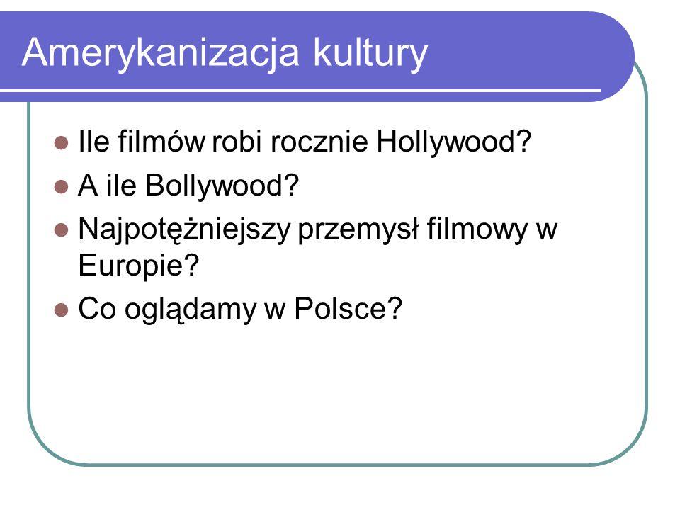 Amerykanizacja kultury Ile filmów robi rocznie Hollywood? A ile Bollywood? Najpotężniejszy przemysł filmowy w Europie? Co oglądamy w Polsce?