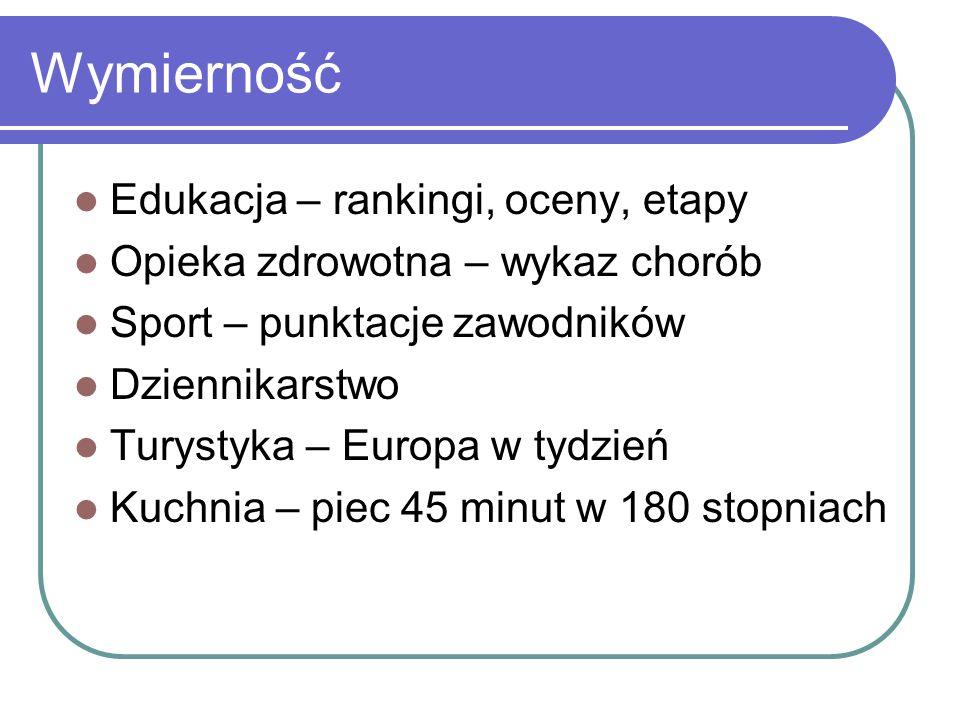 Wymierność Edukacja – rankingi, oceny, etapy Opieka zdrowotna – wykaz chorób Sport – punktacje zawodników Dziennikarstwo Turystyka – Europa w tydzień