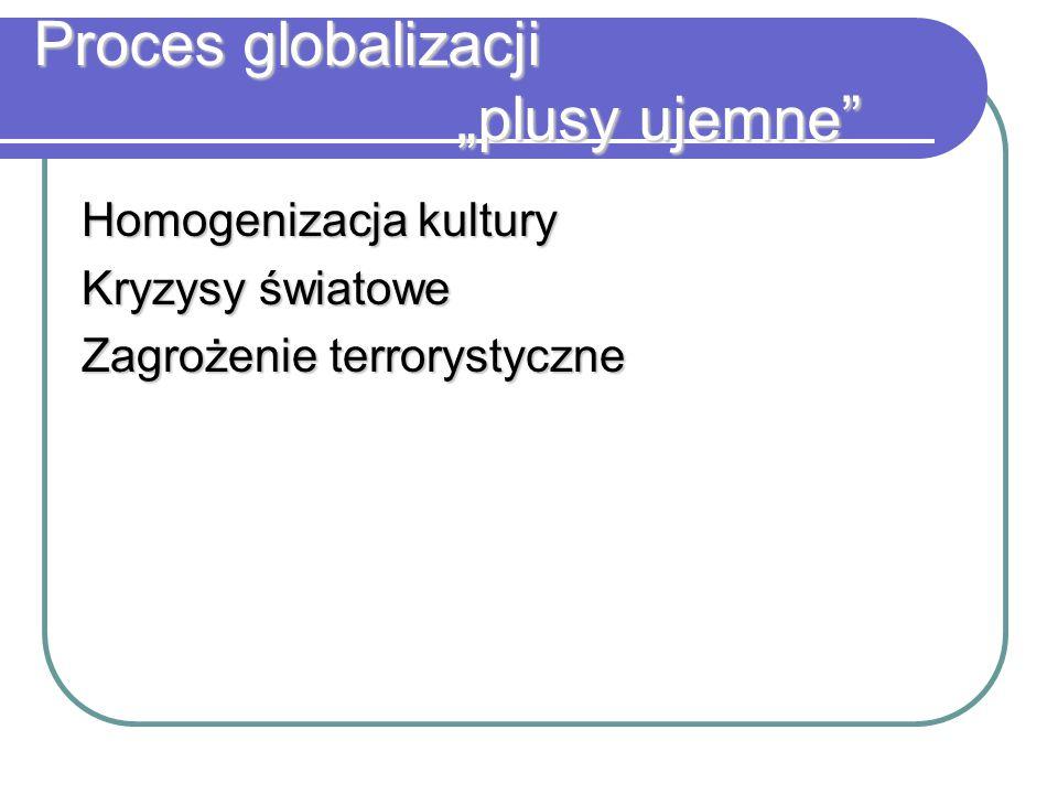 """Proces globalizacji """"plusy ujemne"""" Homogenizacja kultury Kryzysy światowe Zagrożenie terrorystyczne"""