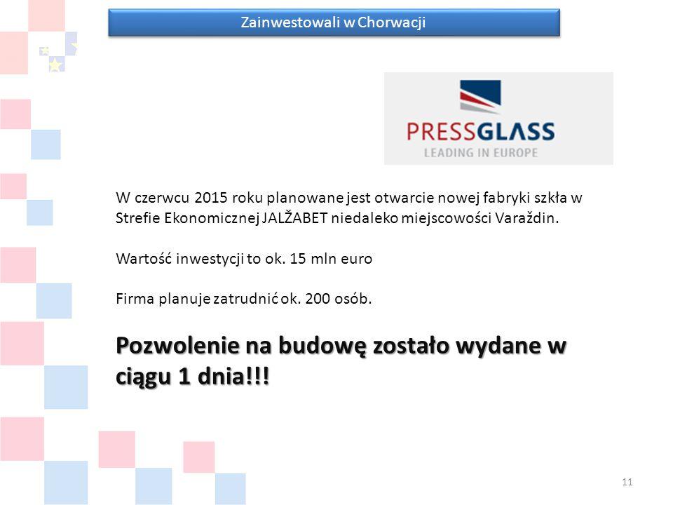 Zainwestowali w Chorwacji W czerwcu 2015 roku planowane jest otwarcie nowej fabryki szkła w Strefie Ekonomicznej JALŽABET niedaleko miejscowości Varaždin.