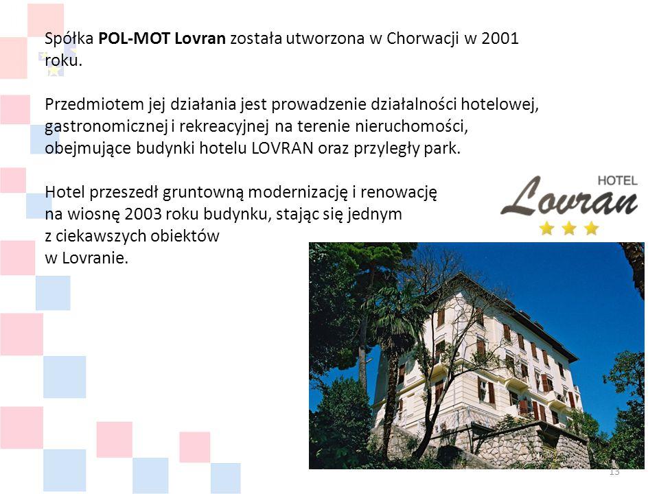 Spółka POL-MOT Lovran została utworzona w Chorwacji w 2001 roku.