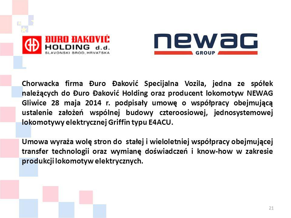 Chorwacka firma Đuro Đaković Specijalna Vozila, jedna ze spółek należących do Đuro Đaković Holding oraz producent lokomotyw NEWAG Gliwice 28 maja 2014 r.