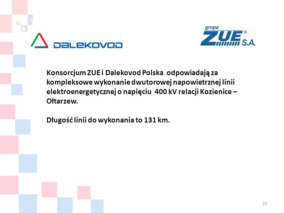 Konsorcjum ZUE i Dalekovod Polska odpowiadają za kompleksowe wykonanie dwutorowej napowietrznej linii elektroenergetycznej o napięciu 400 kV relacji Kozienice – Ołtarzew.