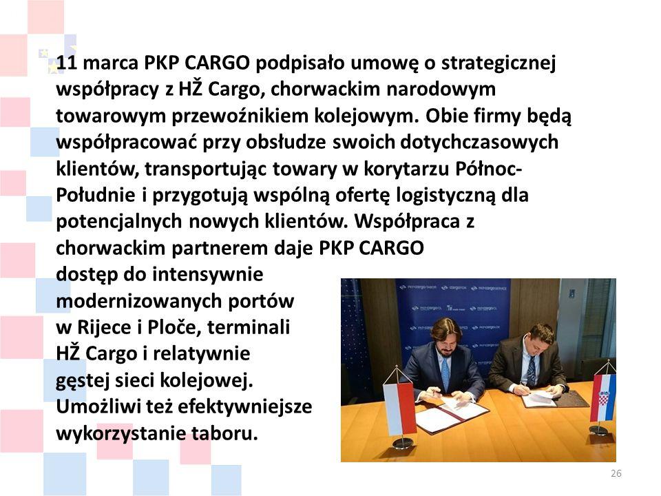 26 11 marca PKP CARGO podpisało umowę o strategicznej współpracy z HŽ Cargo, chorwackim narodowym towarowym przewoźnikiem kolejowym.