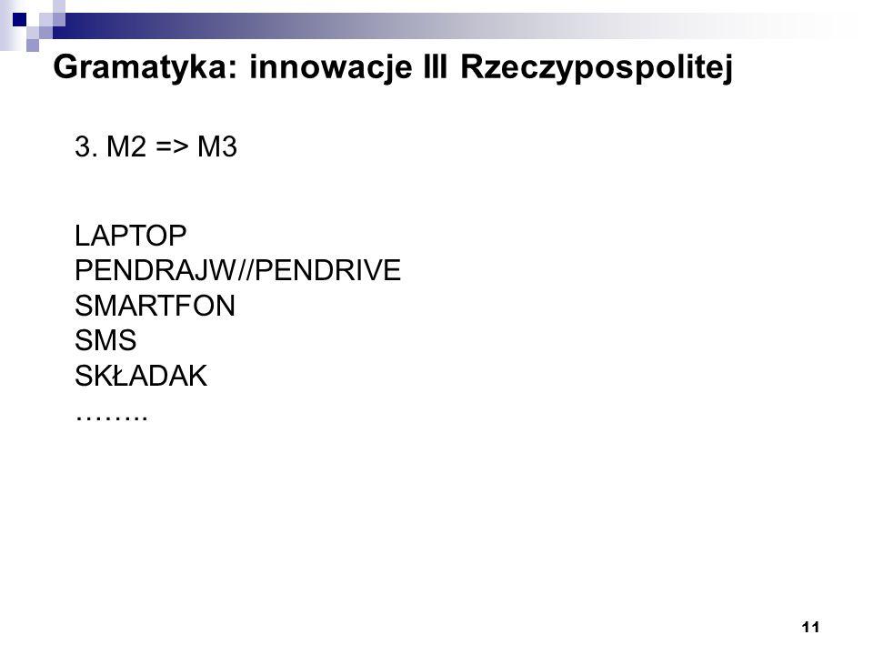 11 Gramatyka: innowacje III Rzeczypospolitej 3. M2 => M3 LAPTOP PENDRAJW//PENDRIVE SMARTFON SMS SKŁADAK ……..