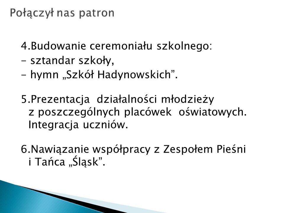 """4.Budowanie ceremoniału szkolnego: - sztandar szkoły, - hymn """"Szkół Hadynowskich ."""