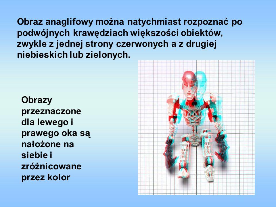 Obraz anaglifowy można natychmiast rozpoznać po podwójnych krawędziach większości obiektów, zwykle z jednej strony czerwonych a z drugiej niebieskich
