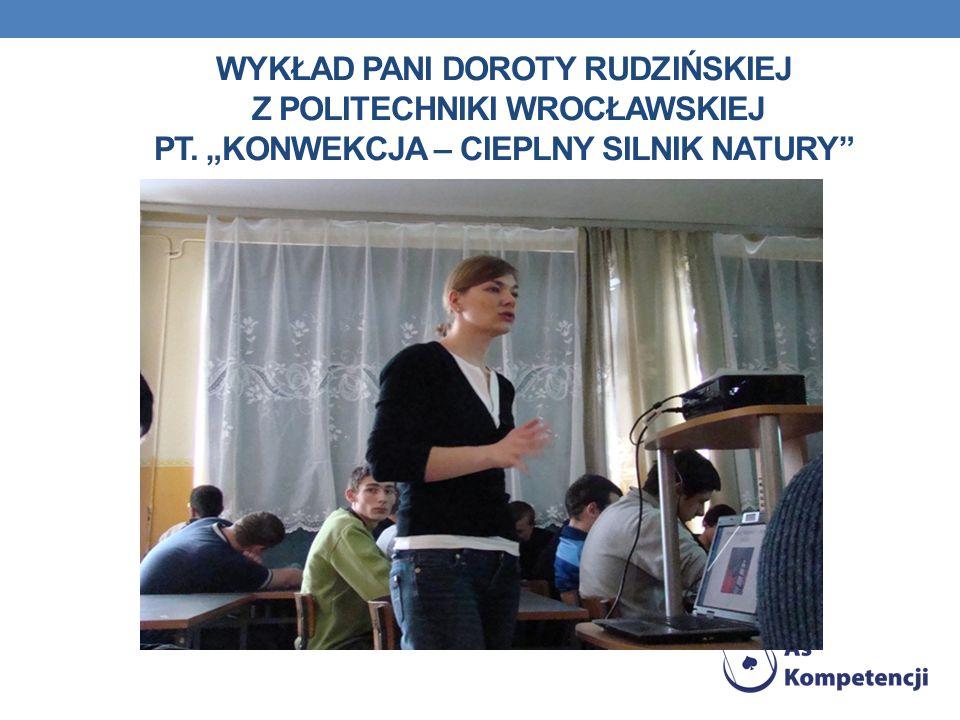 """WYKŁAD PANI DOROTY RUDZIŃSKIEJ Z POLITECHNIKI WROCŁAWSKIEJ PT. """"KONWEKCJA – CIEPLNY SILNIK NATURY"""""""